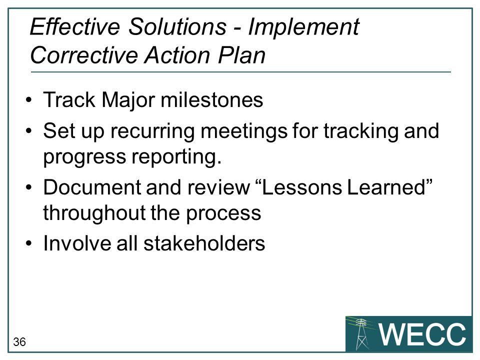Effective Solutions - Implement Corrective Action Plan