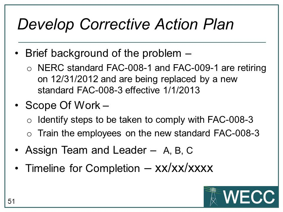 Develop Corrective Action Plan