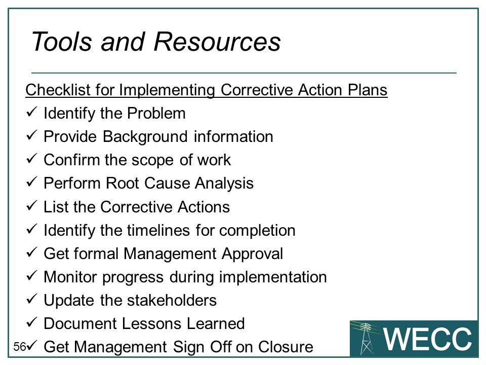 Tools and Resources Checklist for Implementing Corrective Action Plans