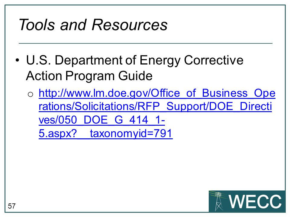 Tools and Resources U.S. Department of Energy Corrective Action Program Guide.