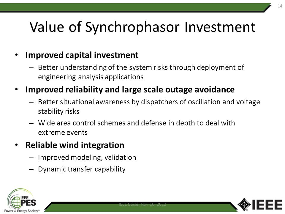 Value of Synchrophasor Investment