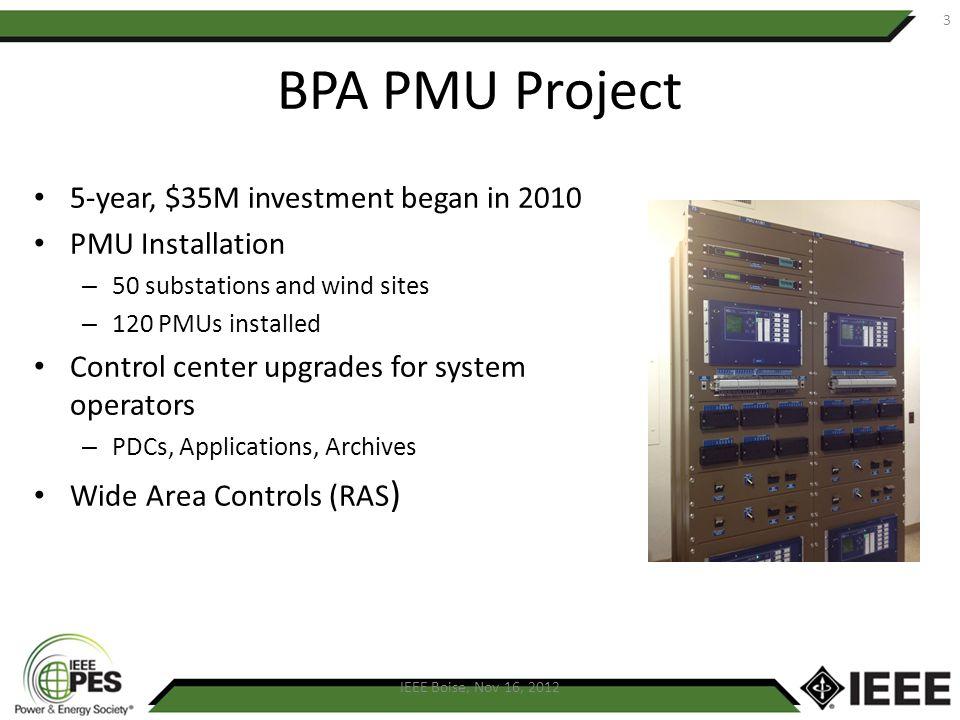BPA PMU Project 5-year, $35M investment began in 2010 PMU Installation