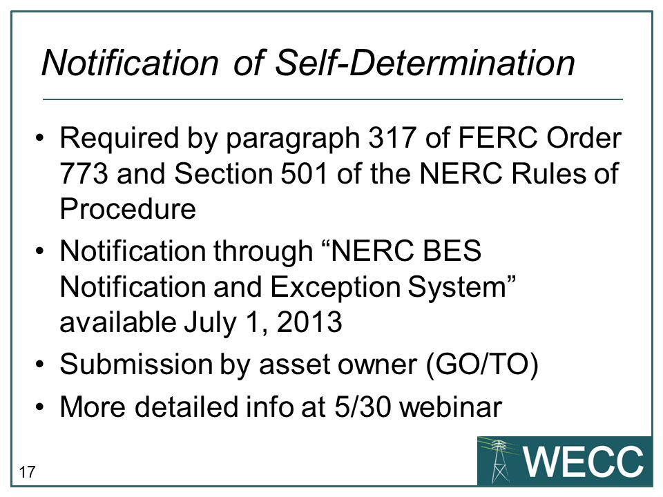 Notification of Self-Determination