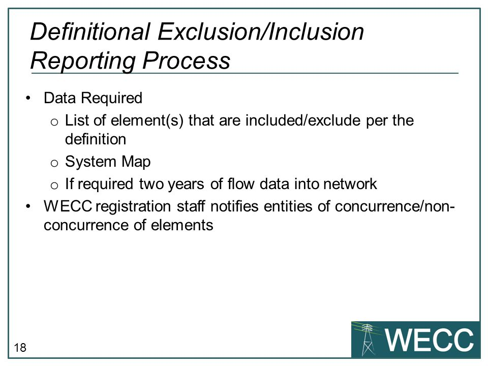 Definitional Exclusion/Inclusion Reporting Process
