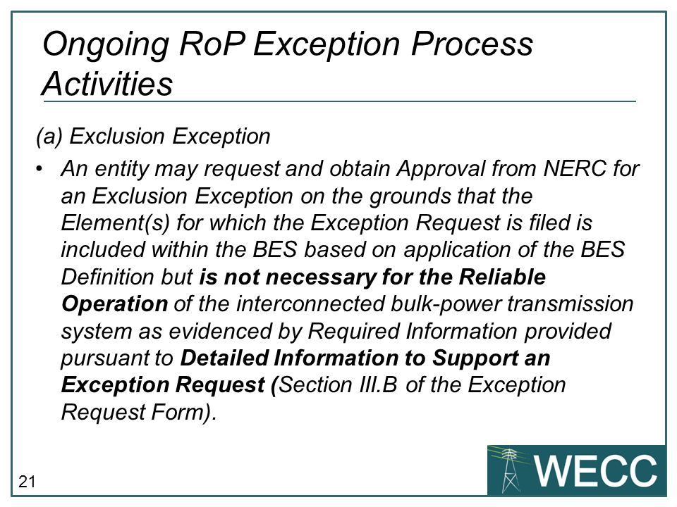 Ongoing RoP Exception Process Activities