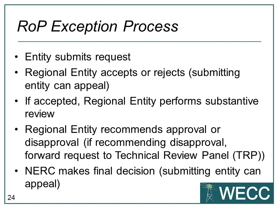 RoP Exception Process Entity submits request