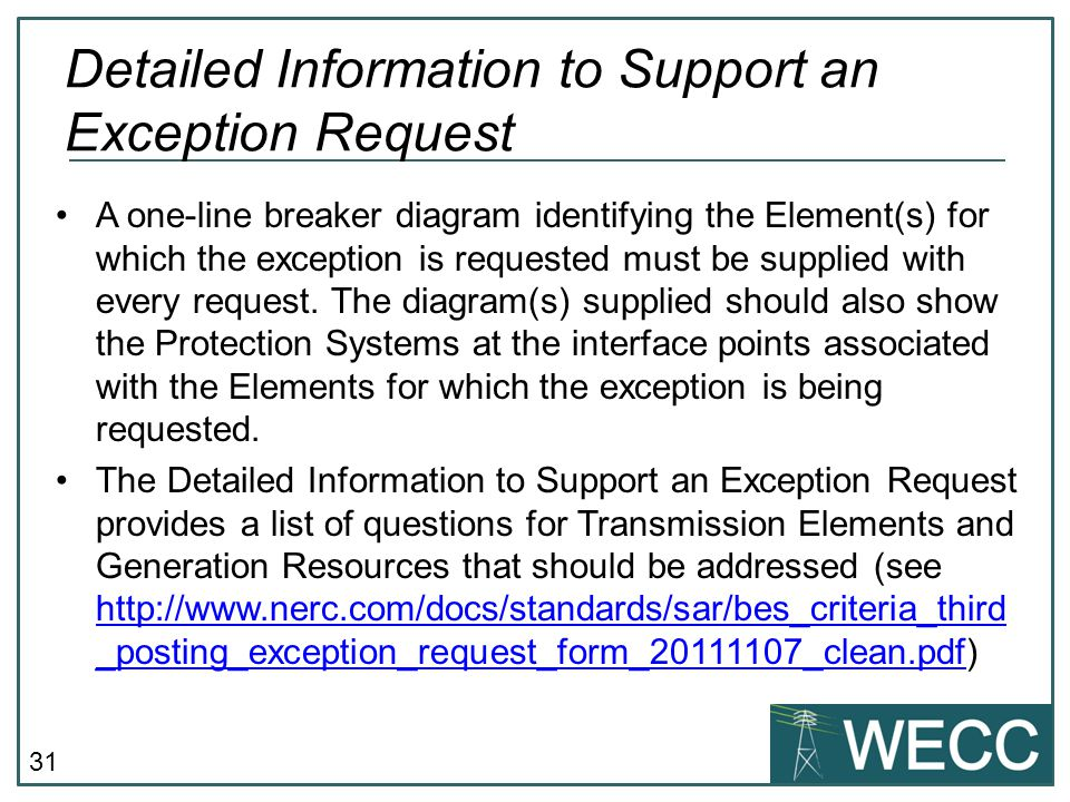 Detailed Information to Support an Exception Request