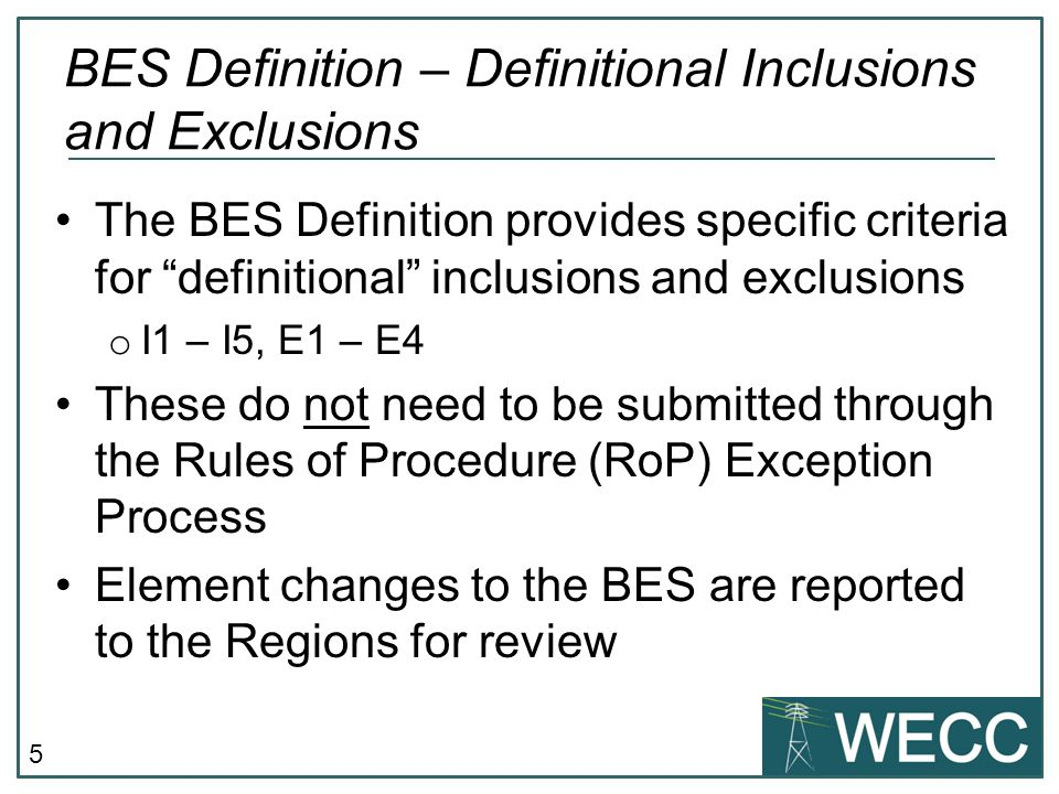 BES Definition – Definitional Inclusions and Exclusions