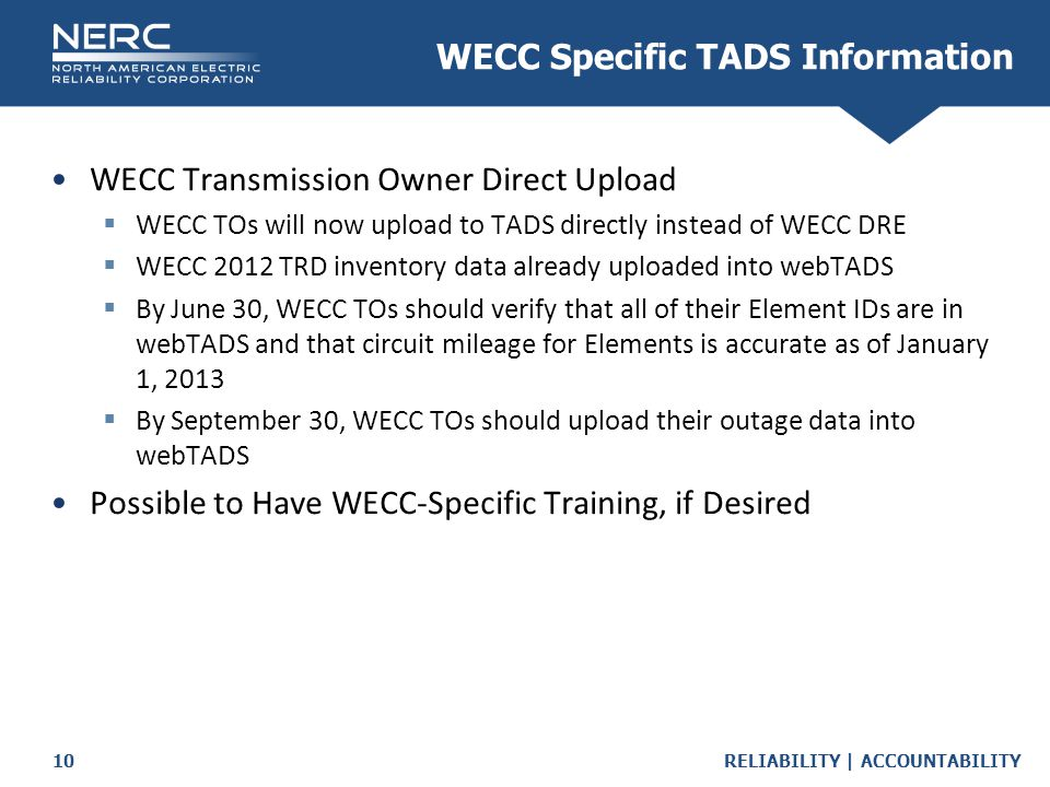 WECC Specific TADS Information