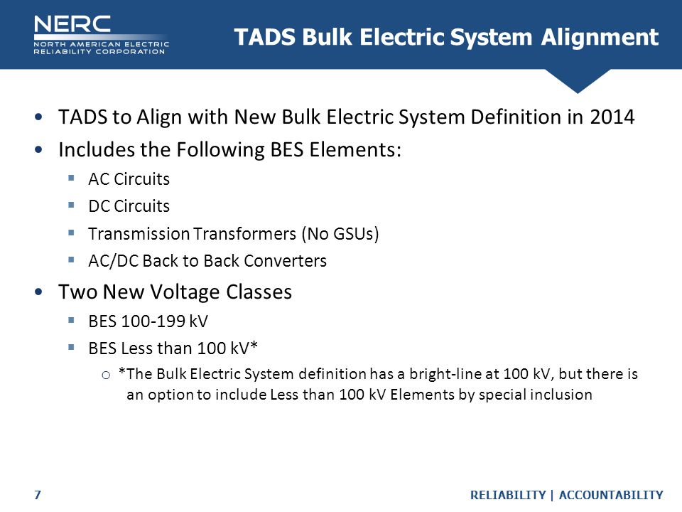 TADS Bulk Electric System Alignment