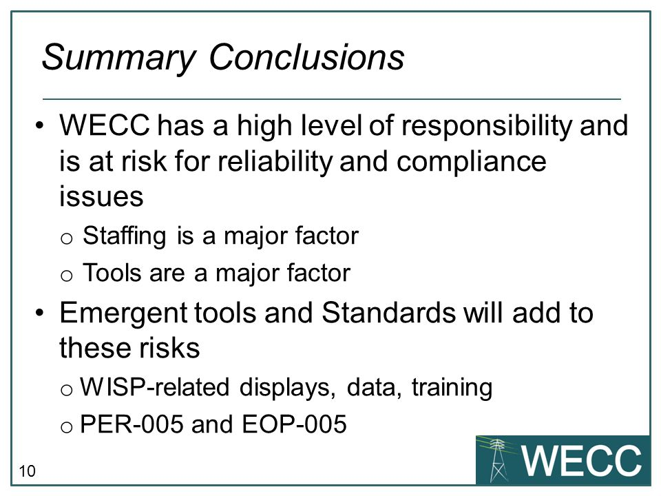Summary Conclusions WECC has a high level of responsibility and is at risk for reliability and compliance issues.
