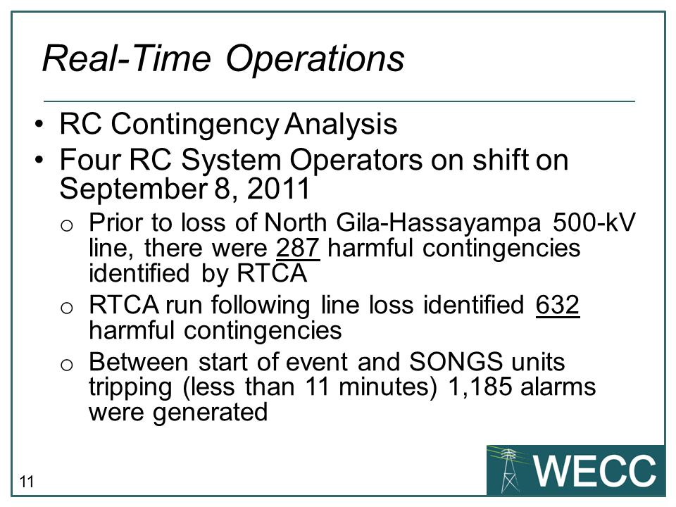 Real-Time Operations RC Contingency Analysis