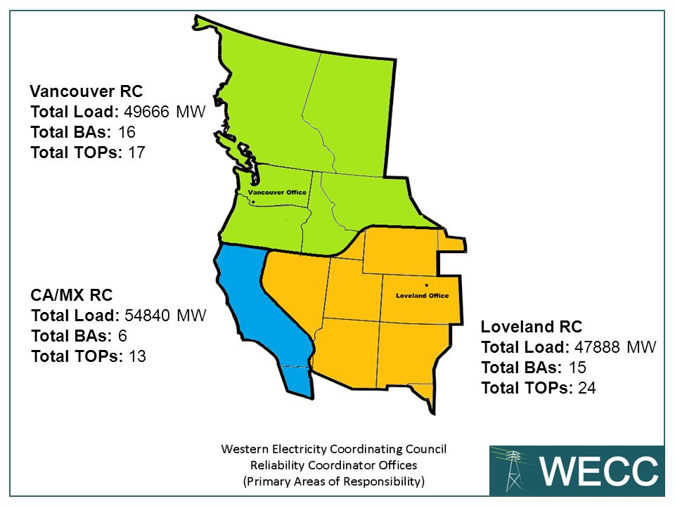 Vancouver RC Total Load: 49666 MW Total BAs: 16 Total TOPs: 17