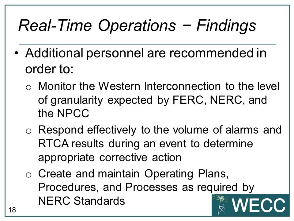 Real-Time Operations − Findings