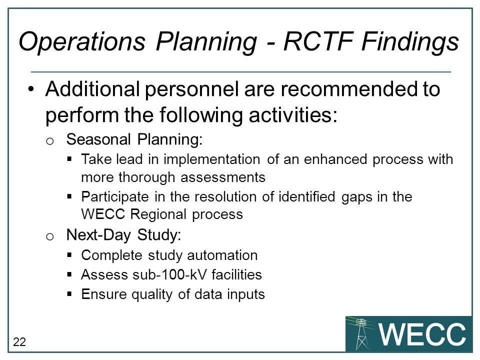 Operations Planning - RCTF Findings