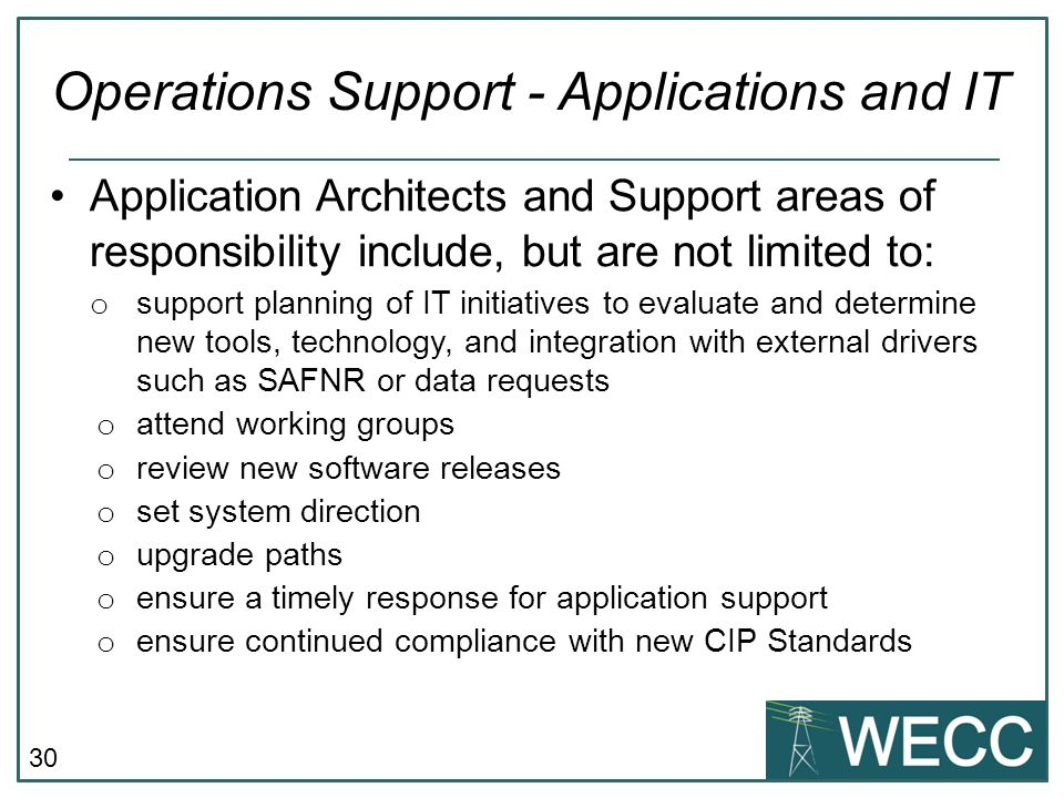 Operations Support - Applications and IT