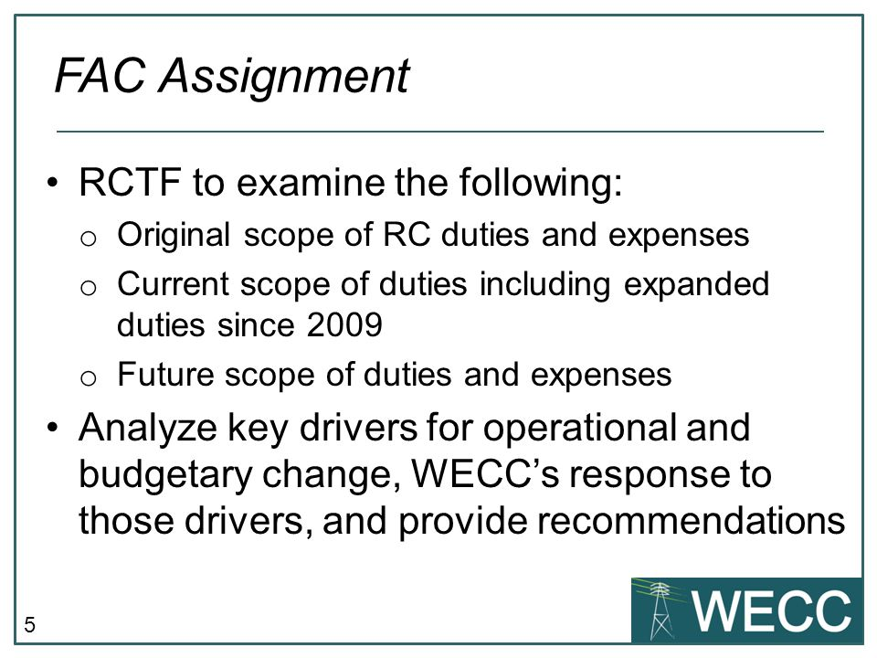 FAC Assignment RCTF to examine the following: