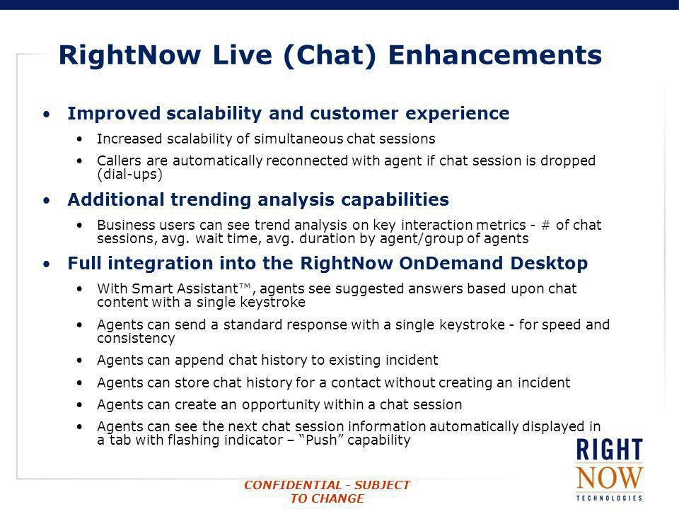 RightNow Live (Chat) Enhancements