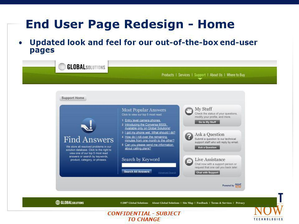 End User Page Redesign - Home