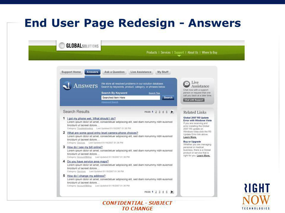 End User Page Redesign - Answers