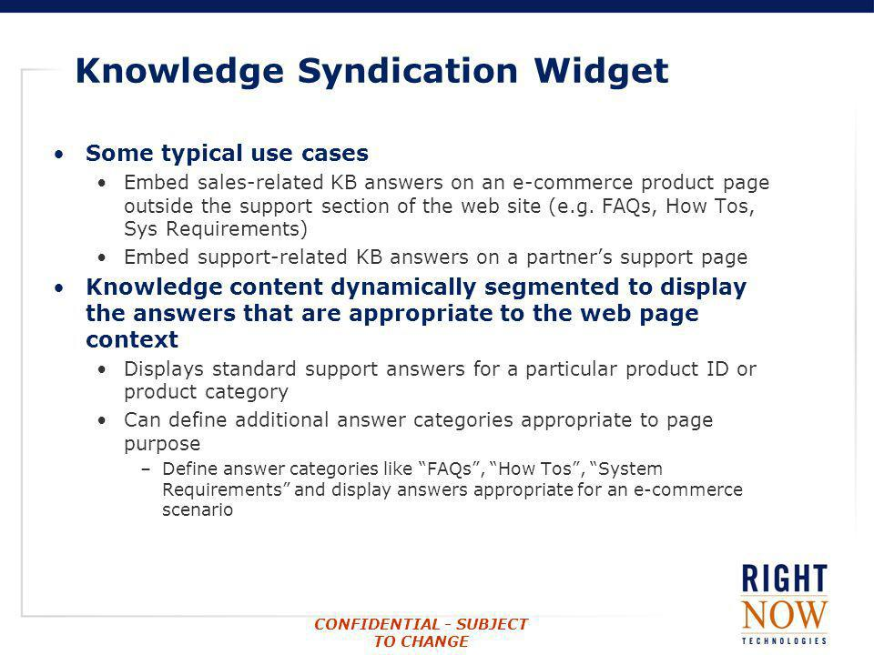 Knowledge Syndication Widget