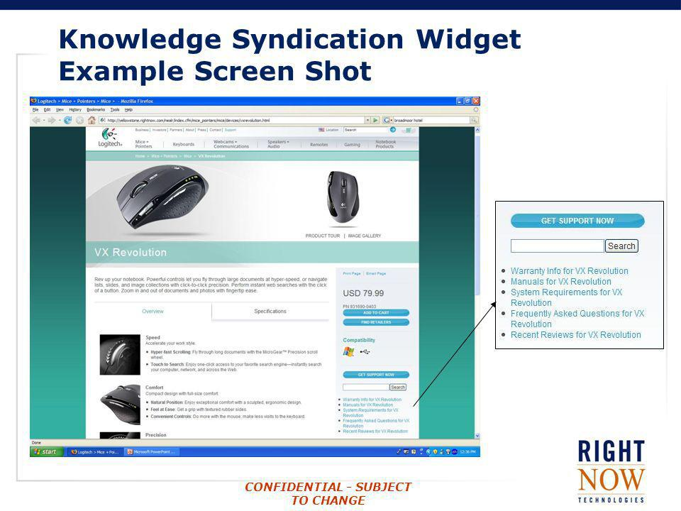 Knowledge Syndication Widget Example Screen Shot