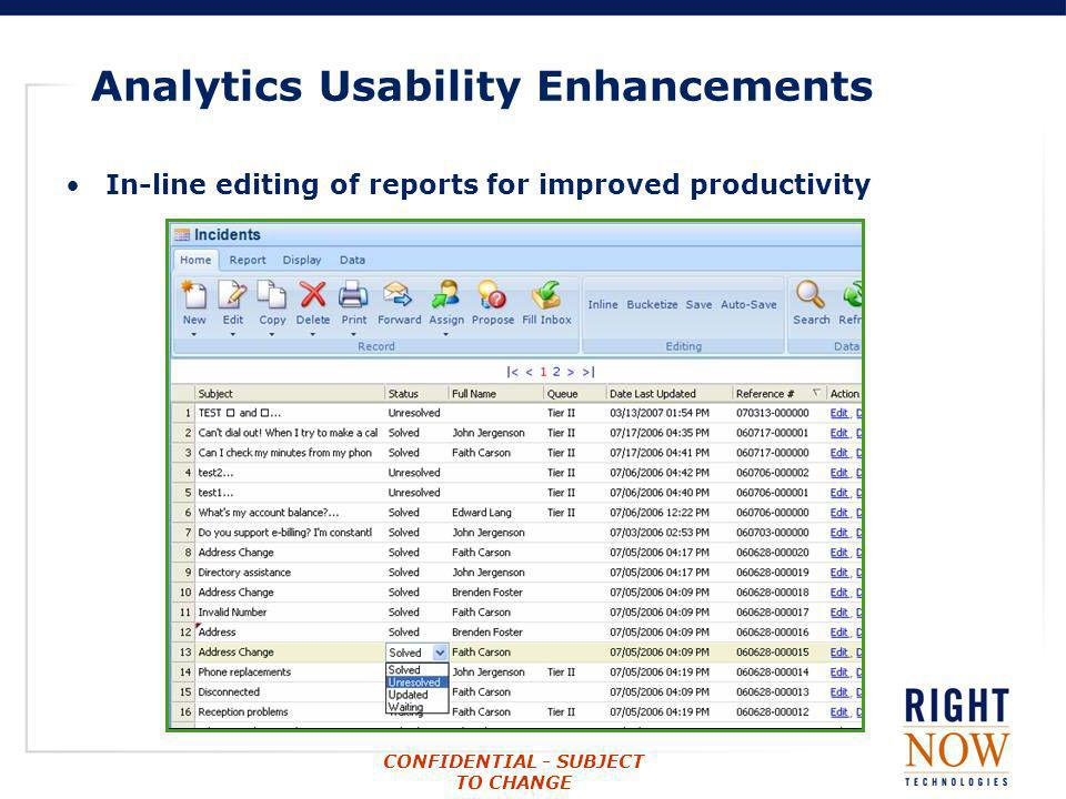 Analytics Usability Enhancements