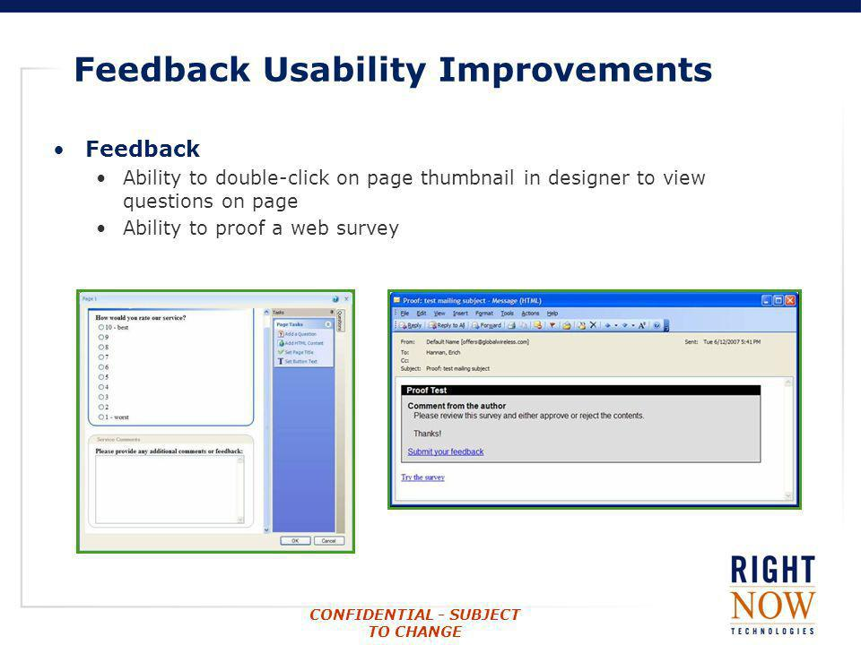 Feedback Usability Improvements