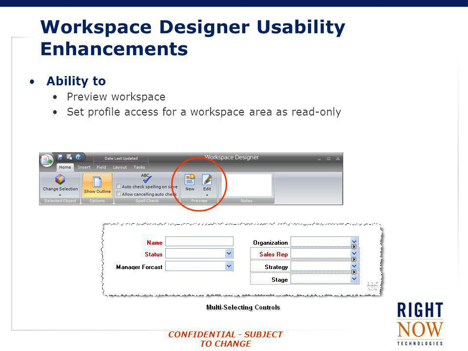 Workspace Designer Usability Enhancements