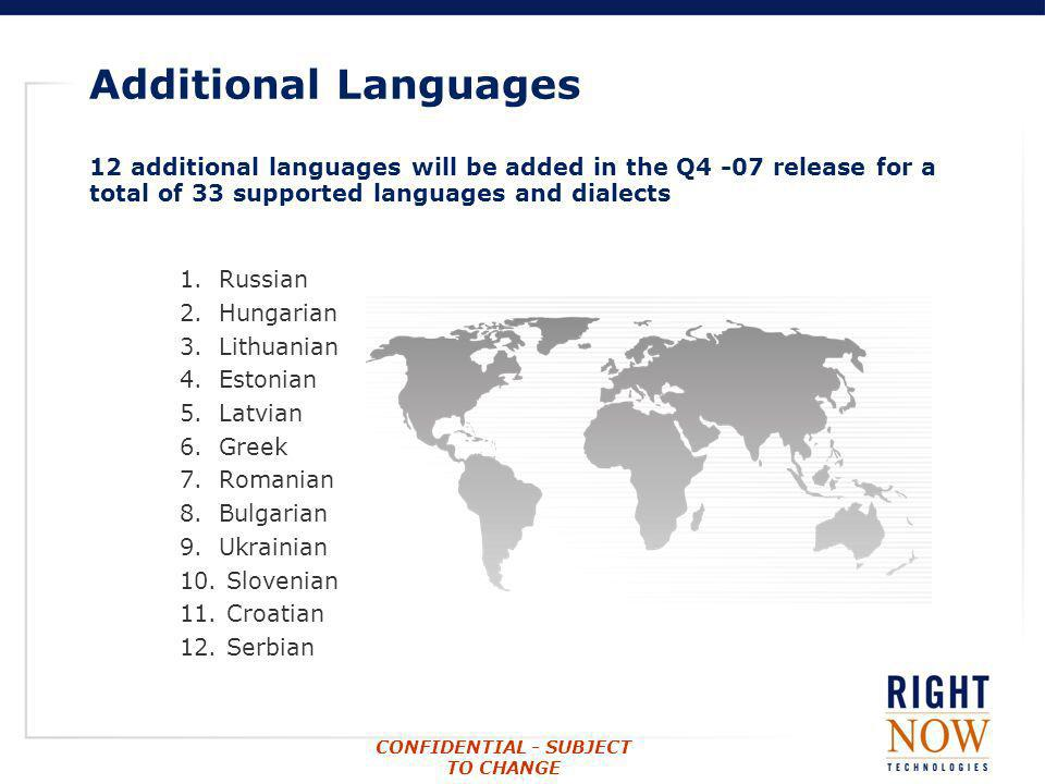 Additional Languages 12 additional languages will be added in the Q4 -07 release for a total of 33 supported languages and dialects.