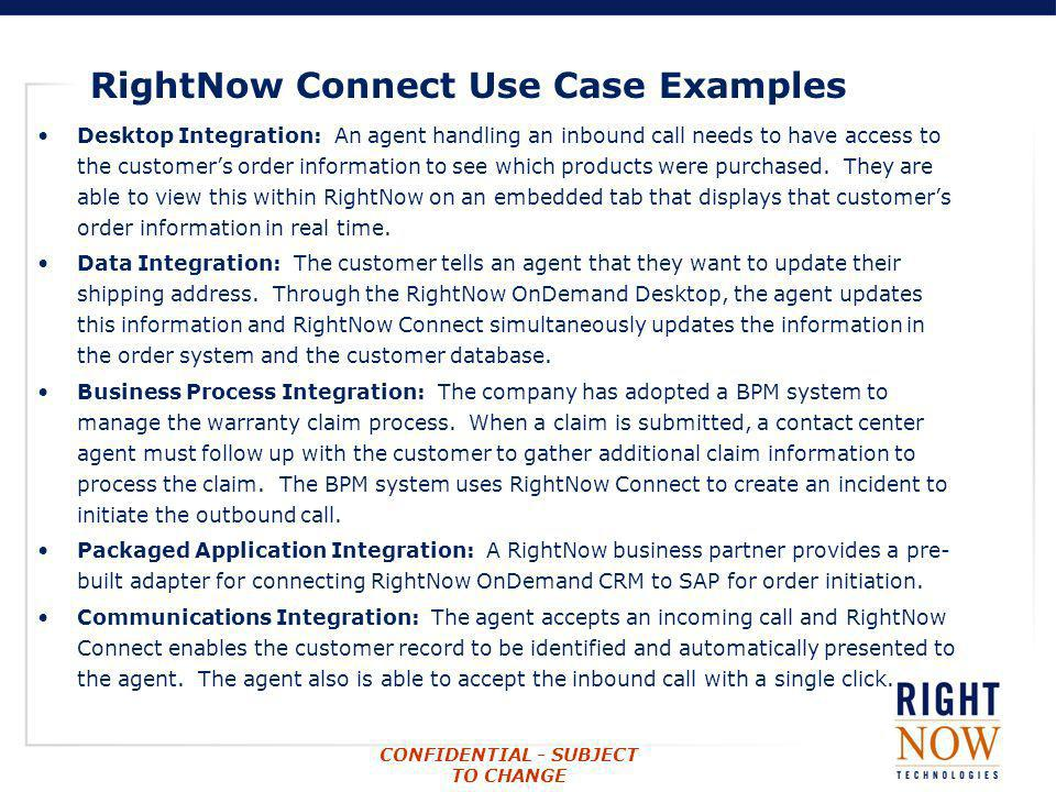 RightNow Connect Use Case Examples