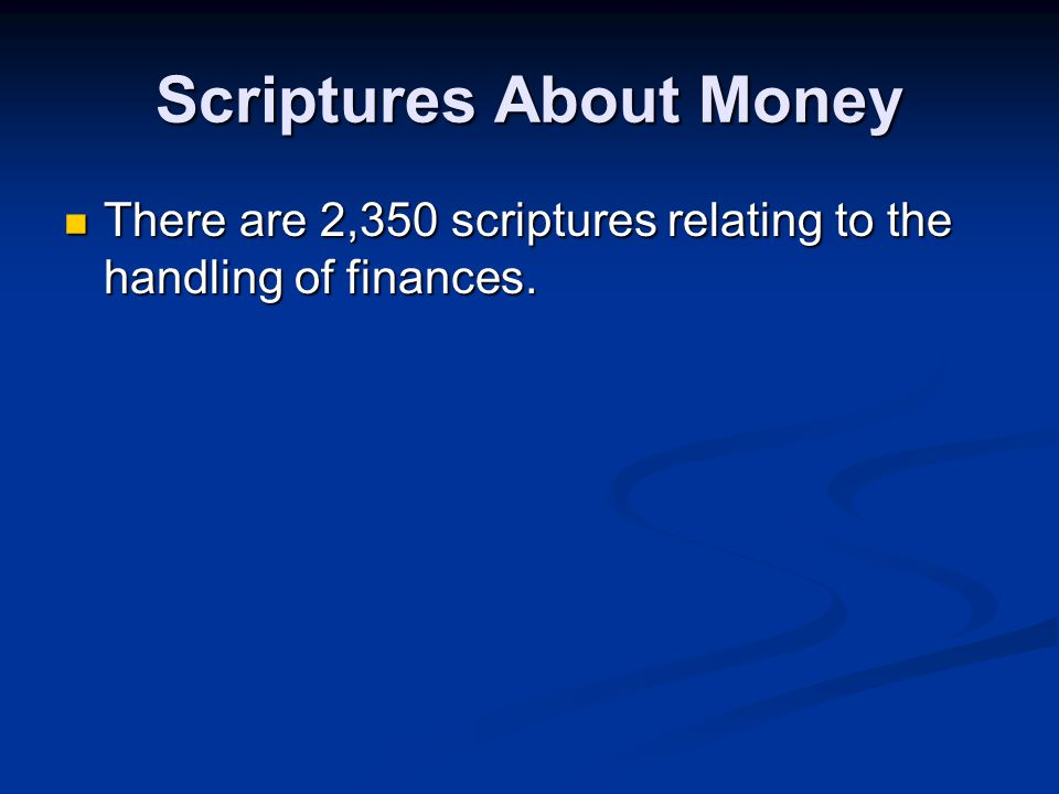 Scriptures About Money