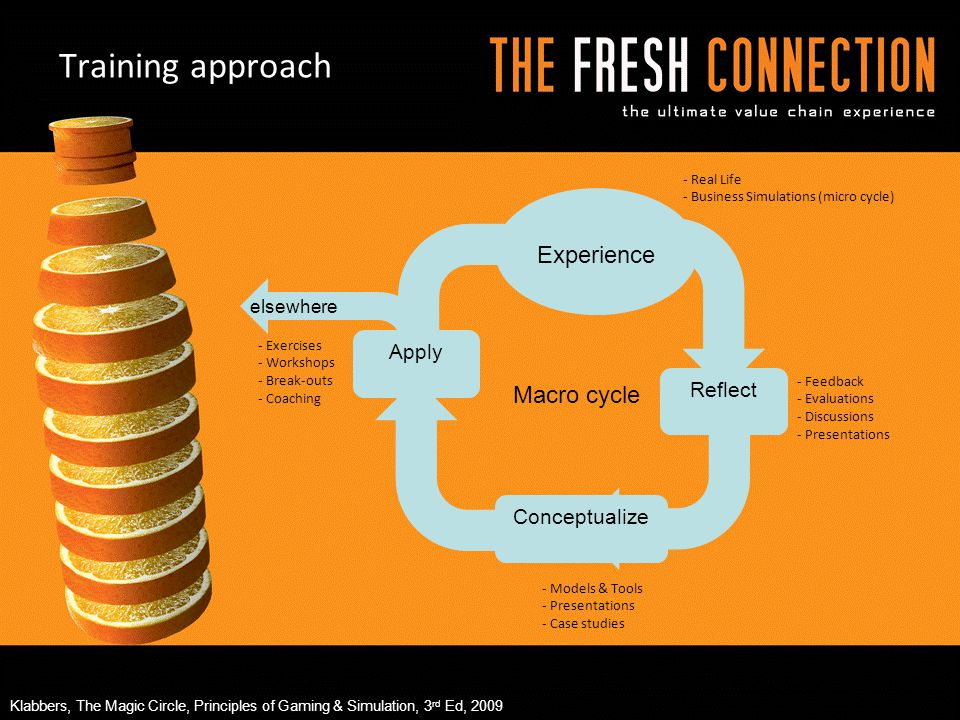 Training approach Experience Macro cycle Apply Reflect Conceptualize