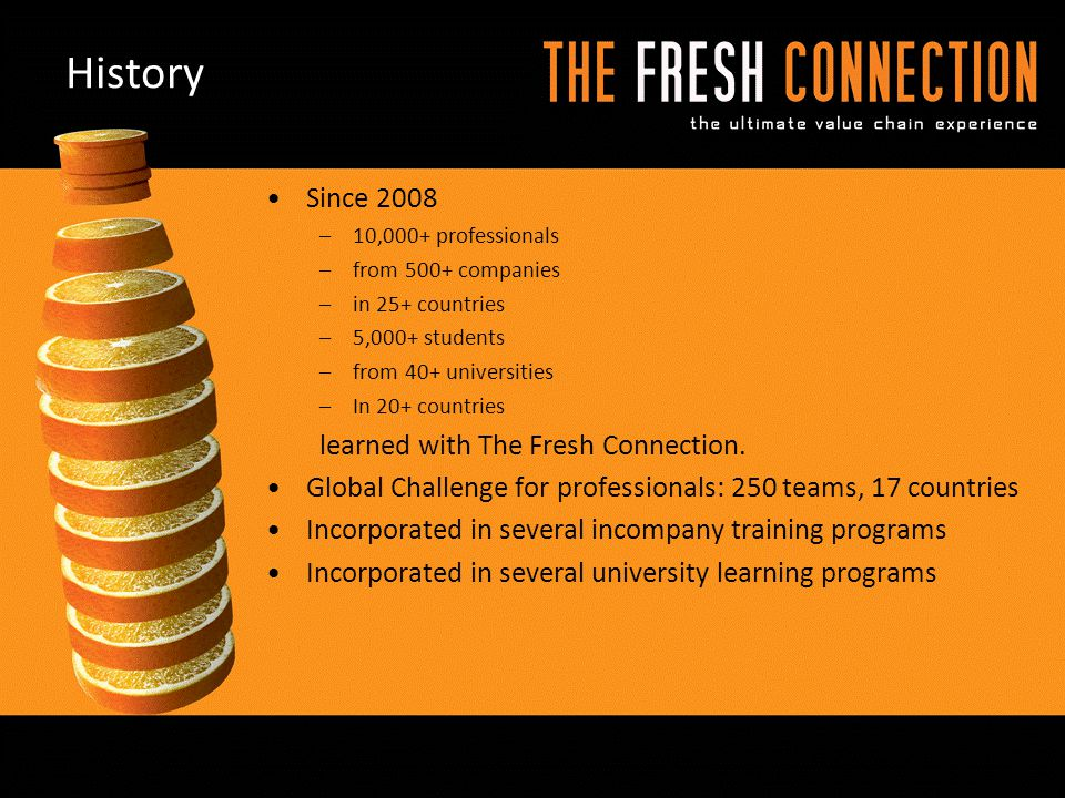 History Since 2008 learned with The Fresh Connection.