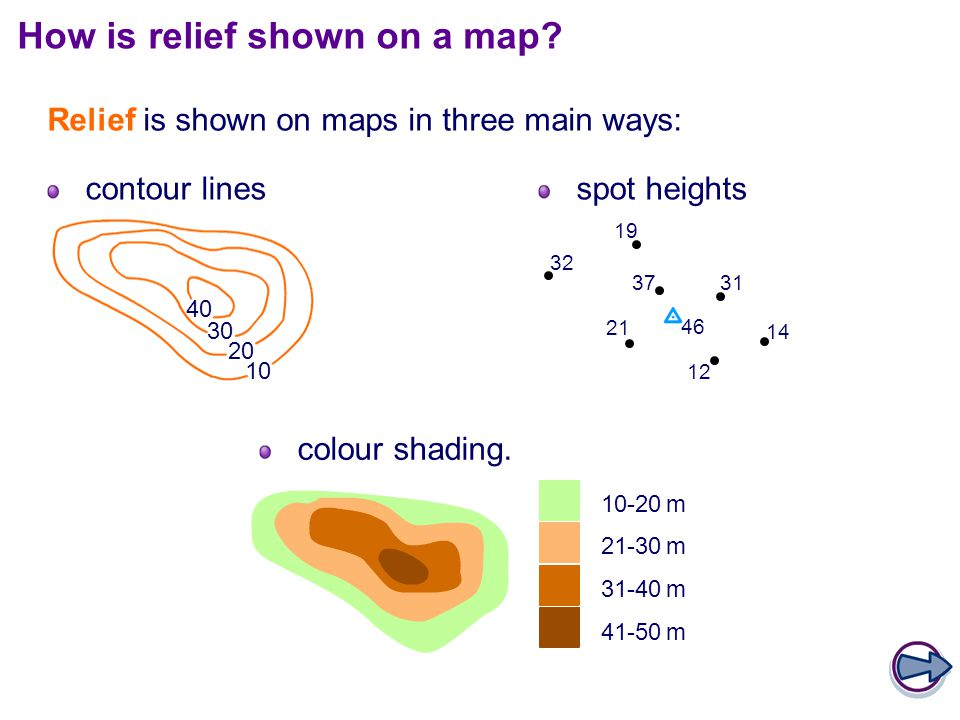 How is relief shown on a map