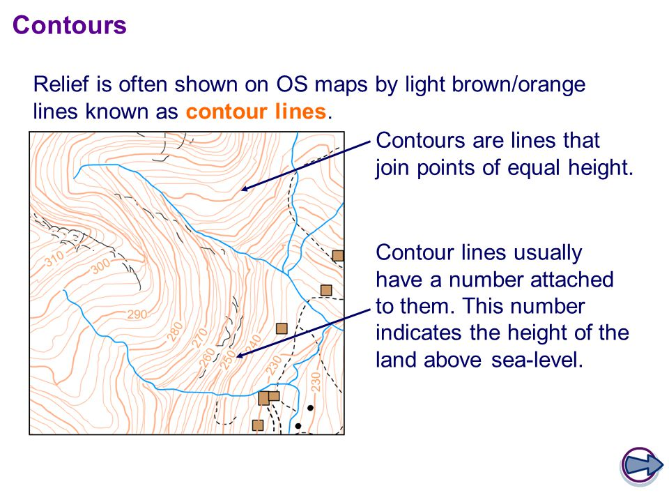 Contours Relief is often shown on OS maps by light brown/orange lines known as contour lines. Contours are lines that join points of equal height.