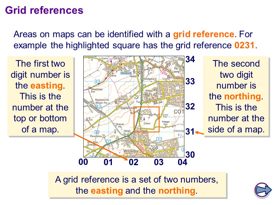 Grid references Areas on maps can be identified with a grid reference. For example the highlighted square has the grid reference 0231.