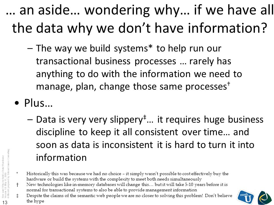… an aside… wondering why… if we have all the data why we don't have information