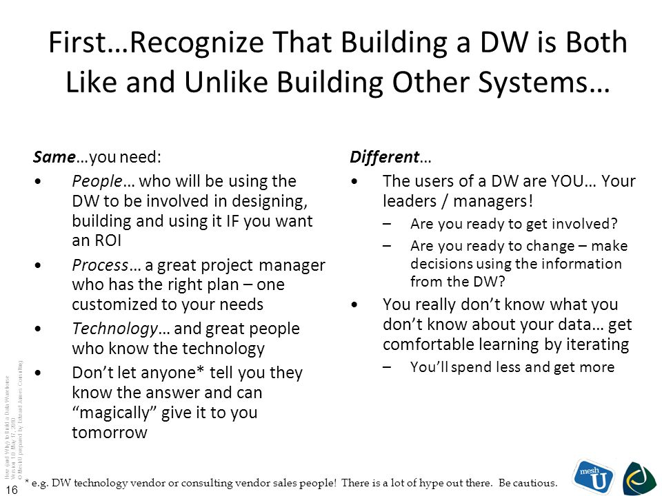 First…Recognize That Building a DW is Both Like and Unlike Building Other Systems…