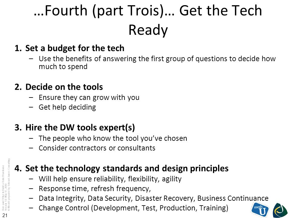 …Fourth (part Trois)… Get the Tech Ready