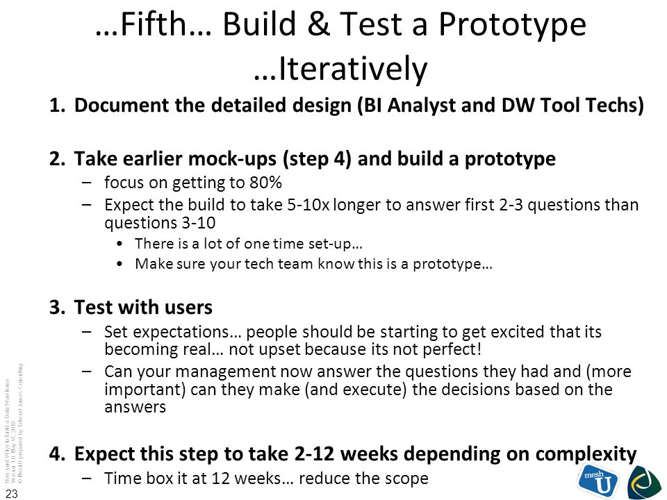…Fifth… Build & Test a Prototype …Iteratively