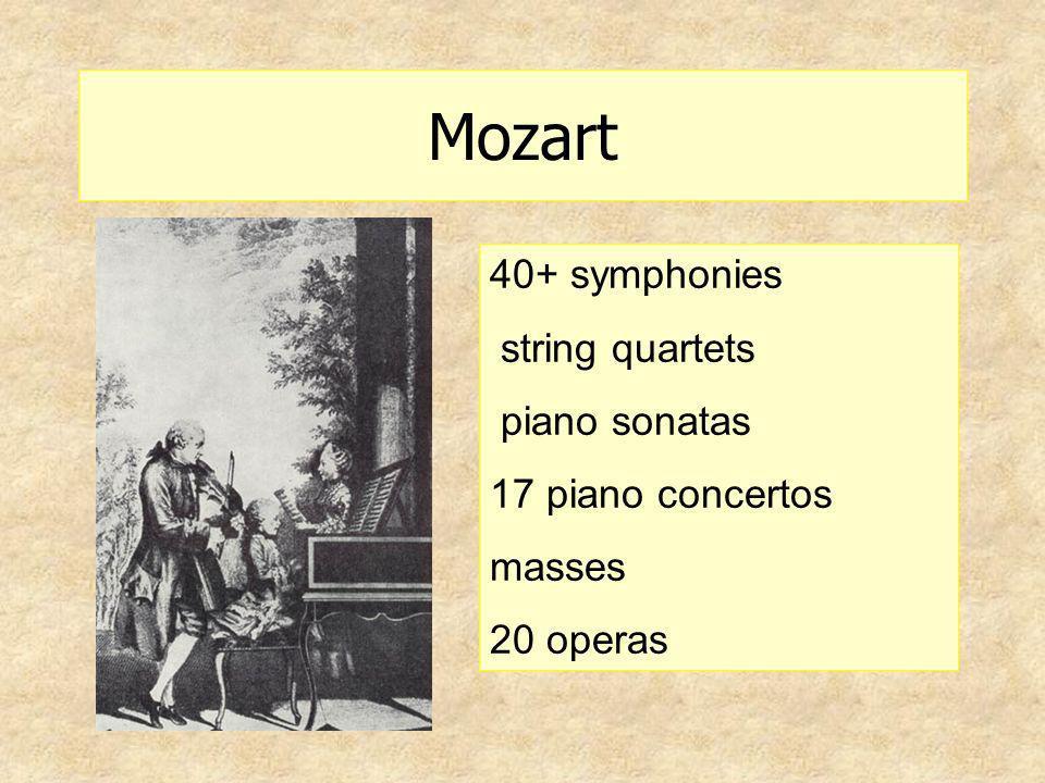Mozart 40+ symphonies string quartets piano sonatas 17 piano concertos