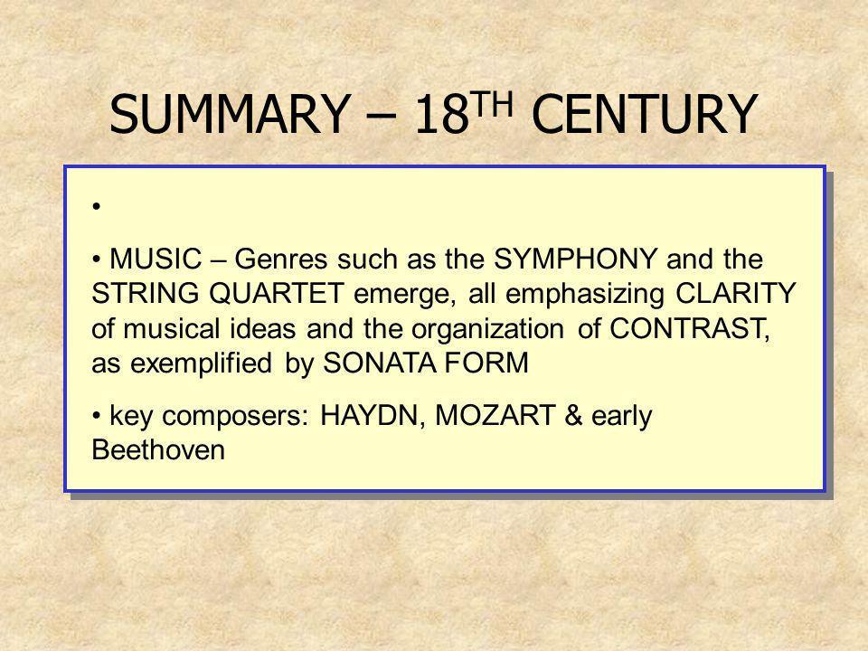 SUMMARY – 18TH CENTURY