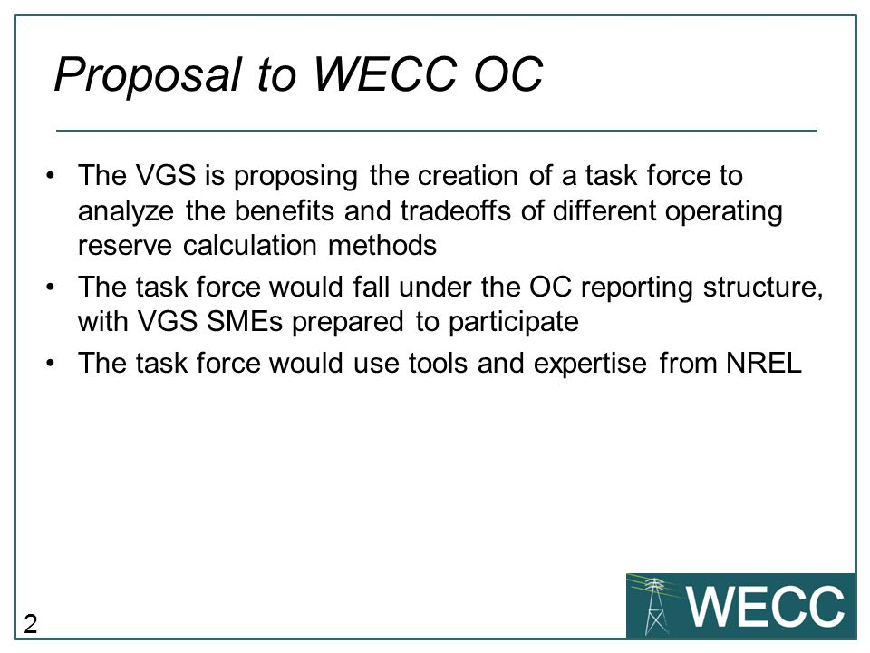 Proposal to WECC OC