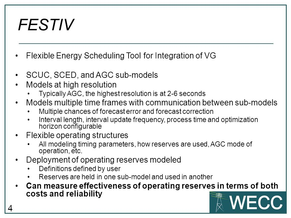 FESTIV Flexible Energy Scheduling Tool for Integration of VG