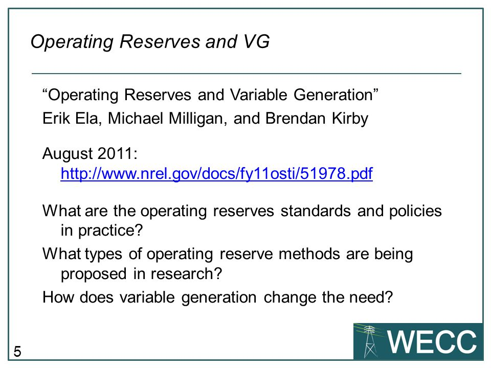 Operating Reserves and VG