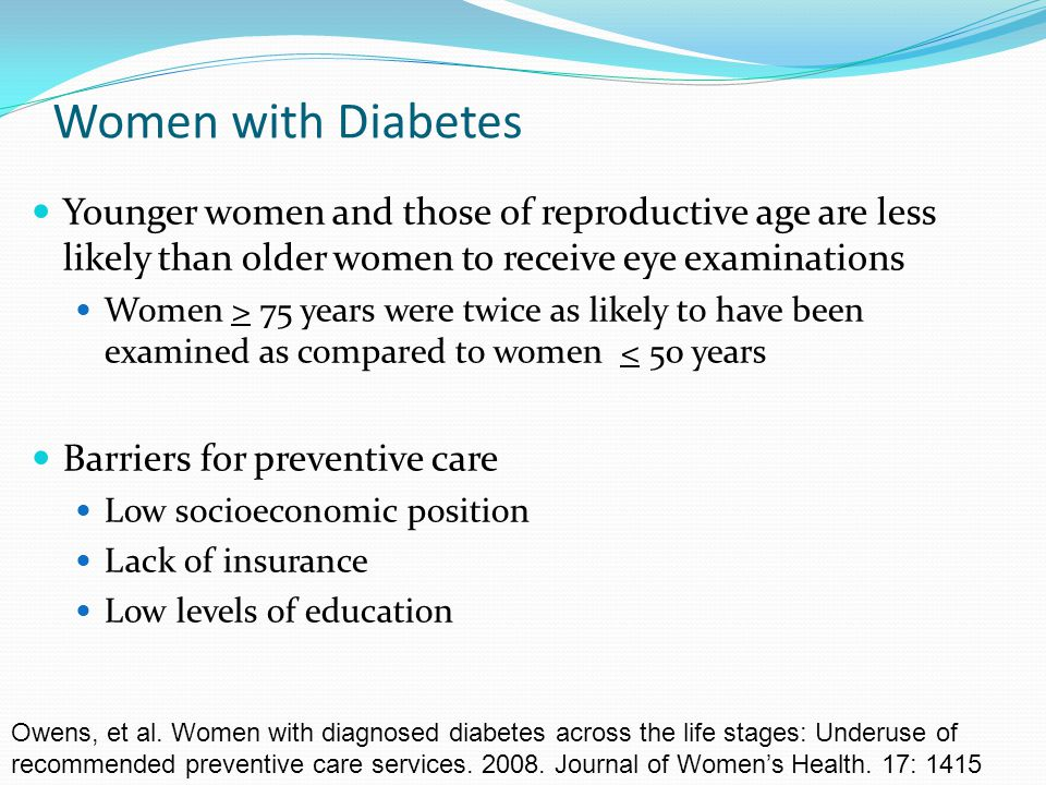 Women with Diabetes Younger women and those of reproductive age are less likely than older women to receive eye examinations.