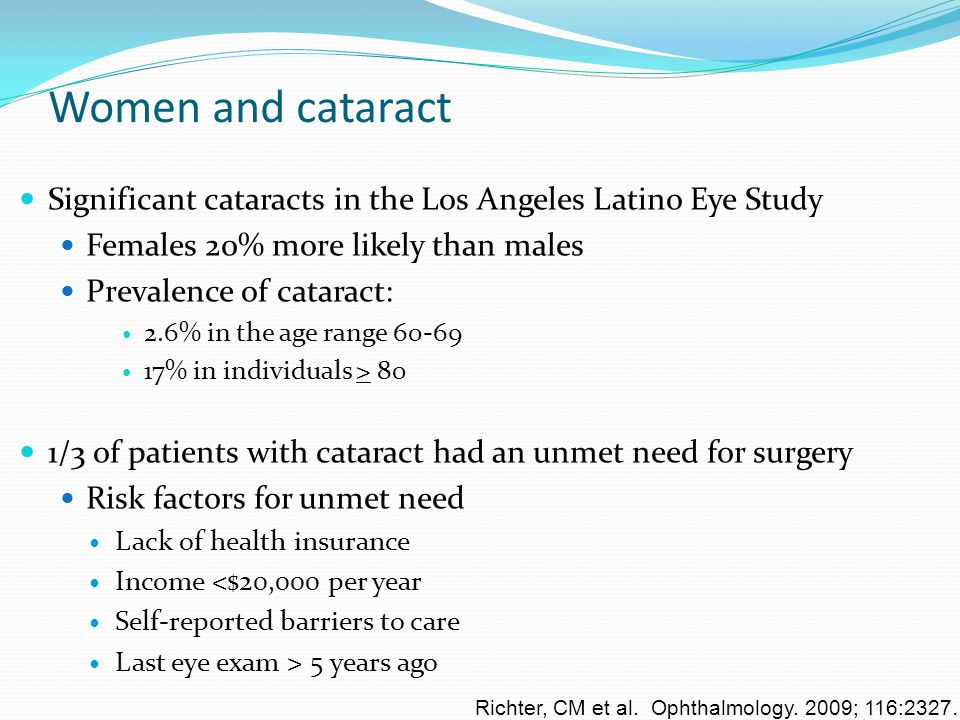Women and cataract Significant cataracts in the Los Angeles Latino Eye Study. Females 20% more likely than males.