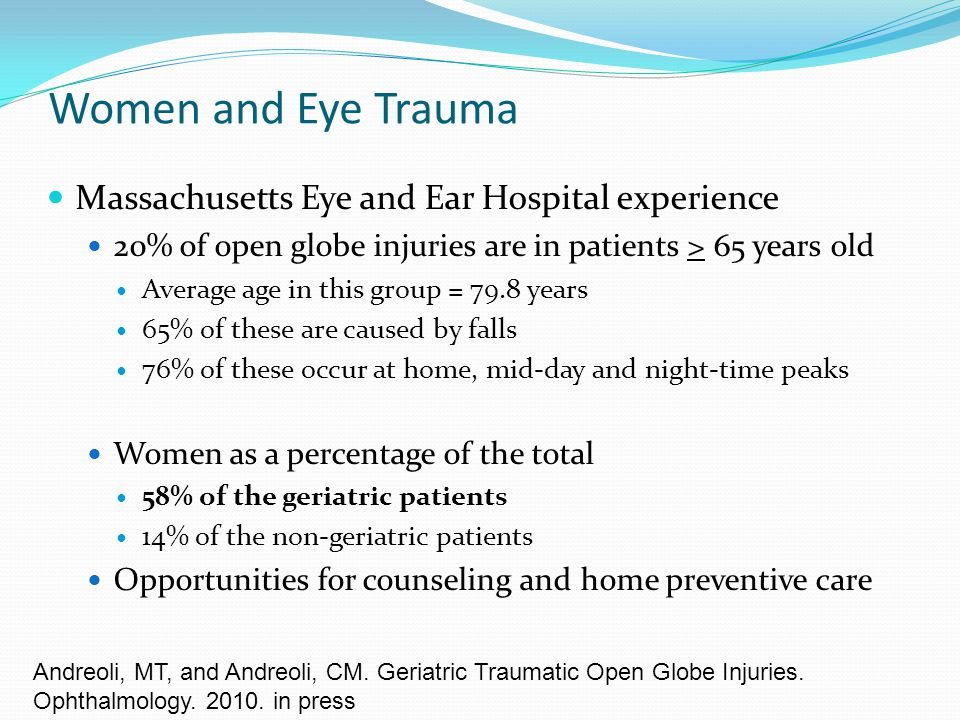 Women and Eye Trauma Massachusetts Eye and Ear Hospital experience
