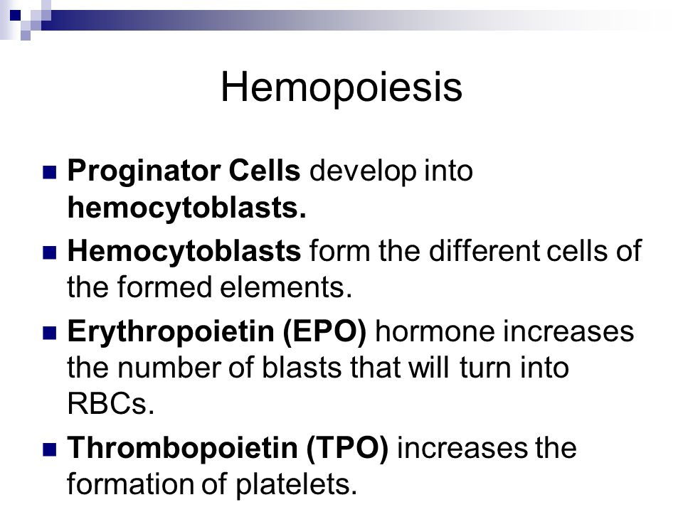 Hemopoiesis Proginator Cells develop into hemocytoblasts.